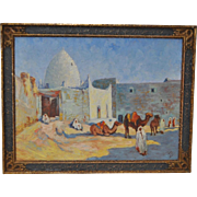 Impressionist North African Landscape with Figures and Camels c.1940