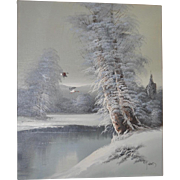 Vintage Winter Landscape Oil Painting by G. Wood