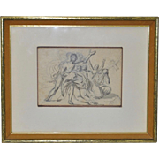 "18th Century Venetian Old Master Drawing ""A Group of Figures"""