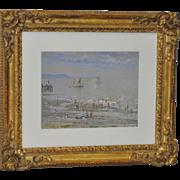 "Hezekiah Anthony Dyer ""Beach Scene"" Gouache on Paper c.1920"