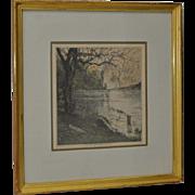 "Luigi Kasimir (1881-1962) ""Persenbeug Castle"" Etching w/ Aquatint c.1929"
