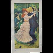 "Vintage Renoir ""Bal a Bougival"" Exhibition Poster Museum of Fine Arts Boston, MA c.1949"
