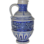 German Salt Glazed Ceramic Beer Jug
