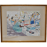 "Bela Newman ""At The Flea Market"" Watercolor Painting c.1997"