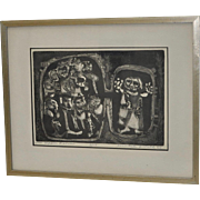 """Lundell Smith Etching """"The Upper Room"""" c.1965"""