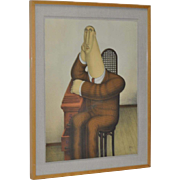 """Roy Carruthers """"Seated Figure"""" Pencil Signed Lithograph"""