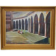 "Frank Ashley (American, 1920-2007) ""Facade at Santa Cruz"" Original Oil Painting c.1965"