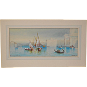 "19th Century Watercolor Painting ""The Giudecca"", Venice, Italy c.1890s"