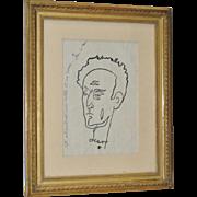 """Jean Cocteau (1889-1963) Original Pen & Ink """"Self Portrait w/ 1001 Vows"""" c.1950s"""