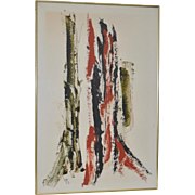 Classic 1970s Abstract Oil Painting on Paper by Lyn c.1972