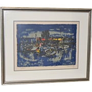 "Lebadang (Vietnam, 1922-2015) ""Boats"" Pencil Signed Color Lithograph c.1960s"
