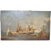 19th Century Maritime Battle Oil Painting