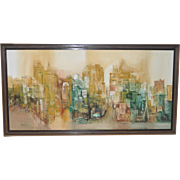 """Vintage Abstract San Francisco """"Russian Hill"""" Cityscape c.1964"""