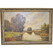 German Country Landscape Oil Painting by Pillinger c.1930s