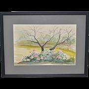 Vintage Watercolor Flowering Roses