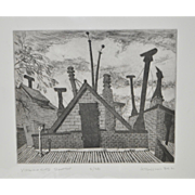 "Arnold Grossman (American) ""Virginia City Rooftop"" Etching c.1984"