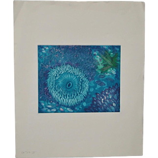 "Arnold Grossman (California) Color Etching ""La Jolla"" Bright Sea Anemone"