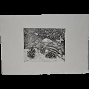 "Arnold Grossman (California, 1923-2016) ""Pinecones"" Etching"