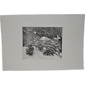 "Arnold Grossman (California, 1923-2016) ""Pinecones"" Etching"