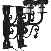 Pair of Early 20th Century Italian Wrought Iron Wall Sconces