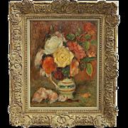 """Lucien Mignon """"Vase de Fleurs"""" Still Life Painting"""