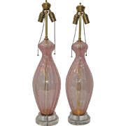 Pair of Murano Pink Iridescent Table Lamps on Lucite Base c.1950s