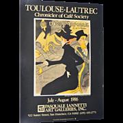 """Vintage """"Toulouse-Lautrec"""" Exhibition Poster San Francisco c.1986"""