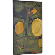 Vintage Abstract Oil Painting by Green c.1960s