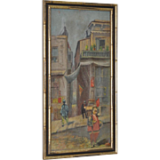 19th Century Chinatown Oil Painting