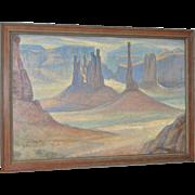 """Peter Blos """"Monument Valley"""" Desert Landscape Oil Painting c.1950"""
