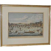The South East Prospect of Westminster Bridge Color Engraving by Benjamin Cole c.1750s