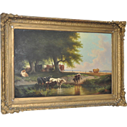 Large 19th Century Oil on Canvas Landscape w/ Cattle