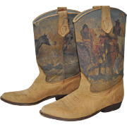Vintage Seychelles Hand Painted Italian Leather Cowgirl Boots Size 7 1/2