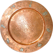 Mid Century Copper Platter w/ Sterling c.1950s