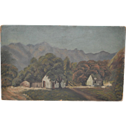 Early California Mountain Valley Landscape w/ Barns c.1900