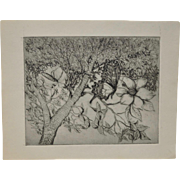 """Arnold Grossman """"Dogwood and Butterfly"""" Etching c.1970s"""