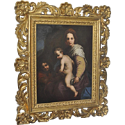 Magnificent 19th Century Old Master Oil Painting in Elaborately Carved & Gilded Frame