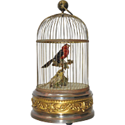 Antique French Mechanical Brass Bird Cage w/ Singing Birds