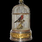 Antique French Mechanical Brass Bird Cage w/ Singing Birds