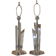 Pair of Vintage Lucite Table Lamps c.1970