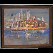 Vintage Heavy Impasto Cityscape Oil Painting c.1960