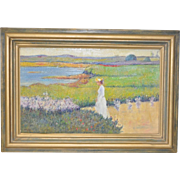 Early 20th Century Post Impressionist Flowering Coastal Landscape c.1908