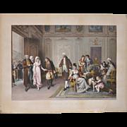 "Hand Colored French Engraving ""Presentation de La Marie"" c.1881"