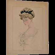 Harrison Fisher (American, 1875-1934) Original Watercolor Portrait c.1908
