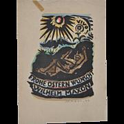 Happy Easter Wish Woodblock Print by Wilhelm Maxon c.1924