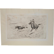 """Edward Borein Drypoint Etching """"End of the Race"""" c.1915"""