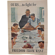 "Norman Rockwell US Government War Propaganda Poster ""Freedom From Want"" c.1943"