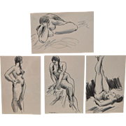 Lot of Four Figural Nude Drawings by Edward Hagedorn c.1960s