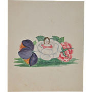 "Charming 19th Century ""Gardenia Girl"" Watercolor c.1890s"