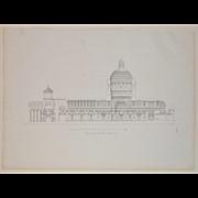 """Architectural Engraving """"Opere dei Grandi Concorsi"""" Milan, Italy c.1830"""